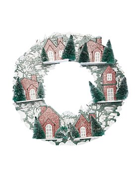 Raz - Red House Lighted Wreath