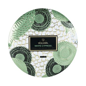 Voluspa - White Cypress 3 Wick Decorative Tin Candle with Lid