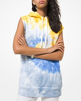 MICHAEL Michael Kors - Tie Dyed Sleeveless Cotton Hoodie