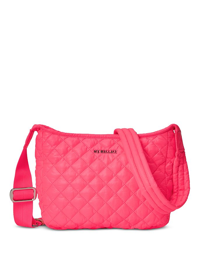 Mz Wallace Small Parker Crossbody In Neon Pink/silver