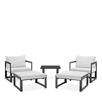 Modway - Fortuna 5 Piece Outdoor Armchair and Ottoman Set