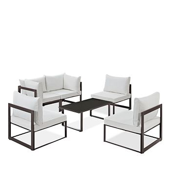 Modway - Fortuna 6 Piece Outdoor Patio Modular Sectional Sofa Set and Large Coffee Table