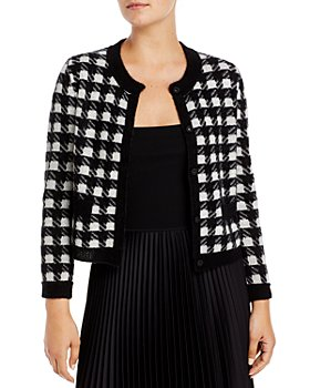 C by Bloomingdale's - Houndstooth Cashmere Cropped Cardigan - 100% Exclusive