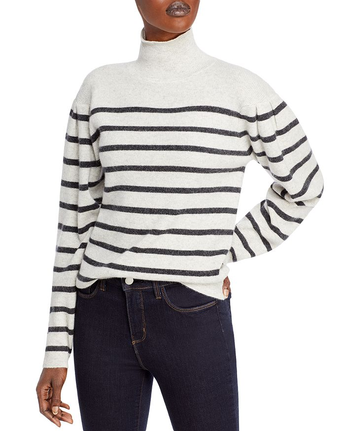 C by Bloomingdale's - Striped Cashmere Turtleneck Sweater - 100% Exclusive
