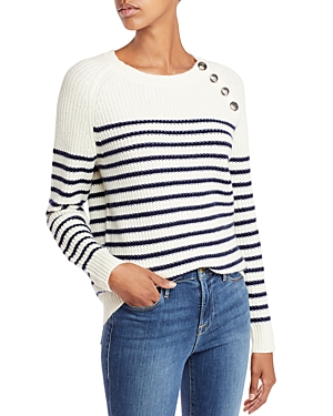 Aqua Cashmere Button Neck Striped Cashmere Crewneck Sweater- 100% Exclusive
