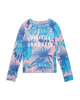 Spiritual Gangster - Girls' Tropical Crewneck Shirt - Little Kid, Big Kid