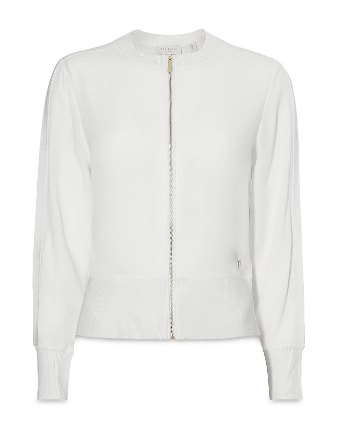 Ted Baker Jehney Zippered Cardigan In White