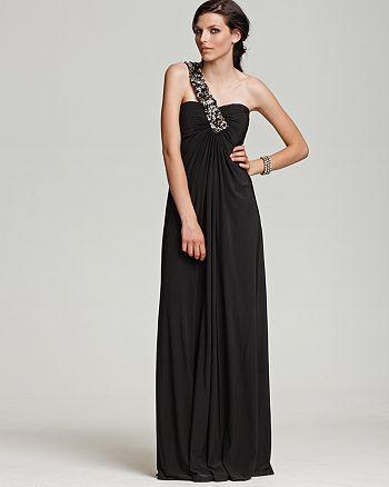 Mignon - Mignon One Shoulder Embellished Matte Jersey Gown
