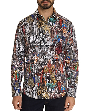 Robert Graham Masterpiece Cotton Stretch Renaissance Graphic Print Classic Fit Button Up Shirt-Men