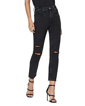 PAIGE - Sarah Ripped Slim Leg Jeans in Black Ace Destructed