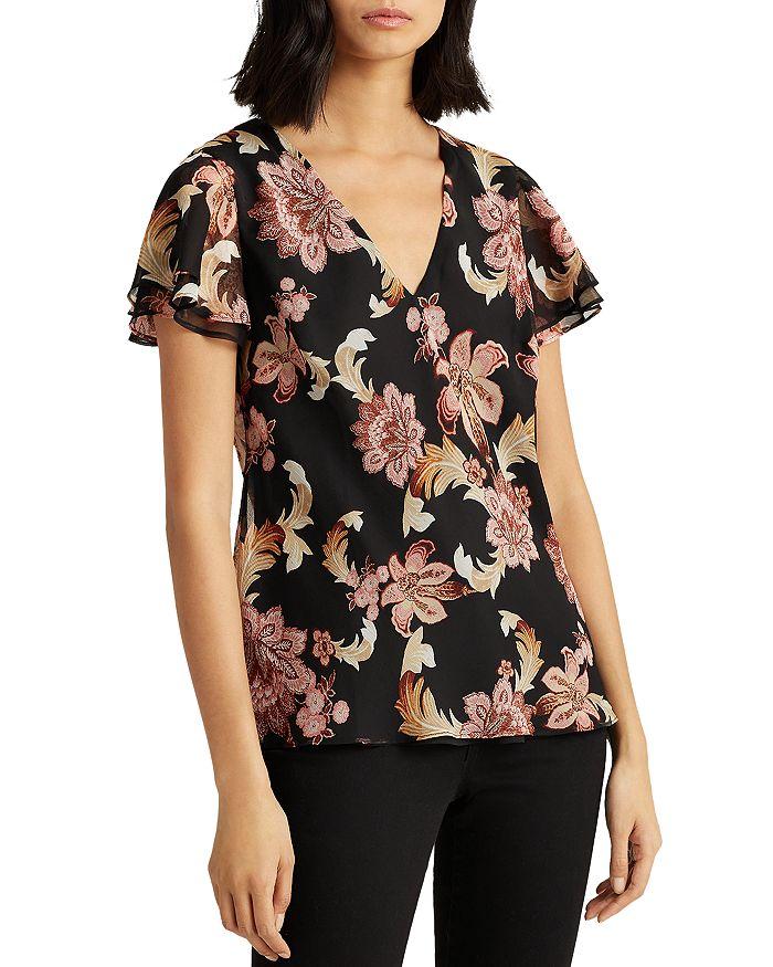 Ralph Lauren - Floral Print Flutter Sleeve Top