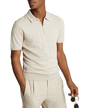 REISS - Verona Striped Half Zip Polo