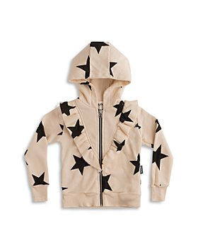 NUNUNU - Girls' Cotton Ruffled Star Print Hoodie - Little Kid