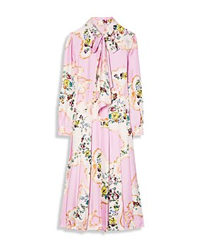 Tory Burch - Floral Print Tie Neck Silk Dress