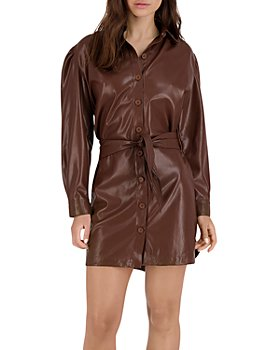 BB DAKOTA - Nelly Faux Leather Puff Sleeve Dress
