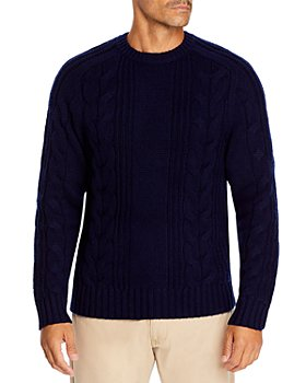 The Men's Store at Bloomingdale's - Wool Blend Cable Knit Crewneck Sweater - 100% Exclusive