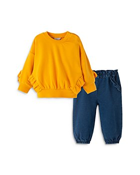 Habitual Kids - Girls' Ryver Ruffled Sweatshirt & Denim Pants Set - Baby