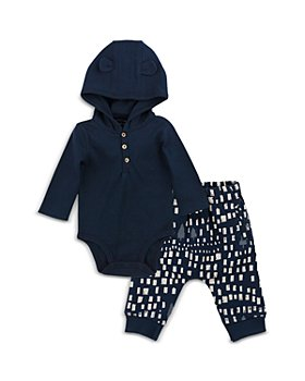 Oliver & Rain - Boys' Hooded Bodysuit & Printed Jogger Pants Set - Baby