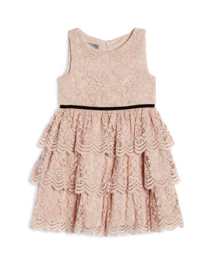 Pippa & Julie Girls' Kamila Blush Lace Tiered Skirt Dress - Little Kid    Bloomingdale's