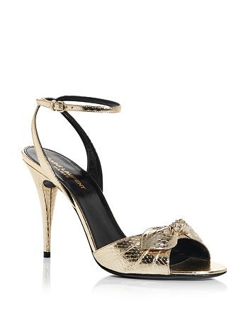 Saint Laurent - Women's Anouk Snake Embossed High Heel Sandals