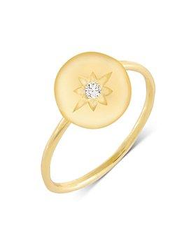 Adinas Jewels - Cubic Zirconia Mini Starburst Stamp Ring