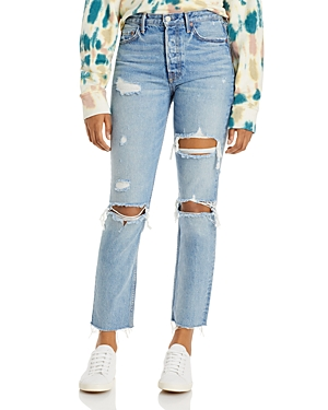 Karolina Cotton Ripped Straight Jeans in A Little More Love