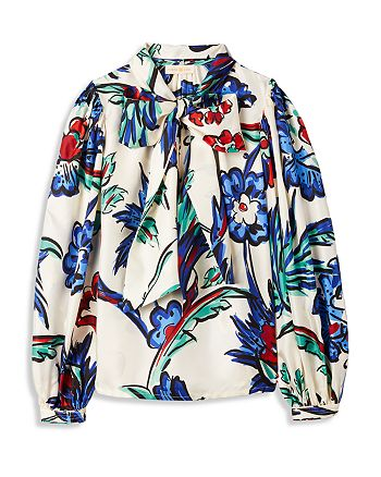 Tory Burch - Silk Floral-Print Bow Blouse