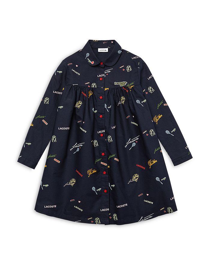 Lacoste - Girls' Logo Print Shirtdress - Little Kid, Big Kid