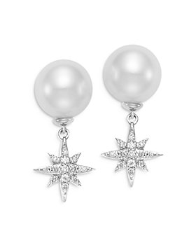 Bloomingdale's - Cultured Freshwater Pearl & Diamond Stella Drop Earrings in 18K White Gold - 100% Exclusive