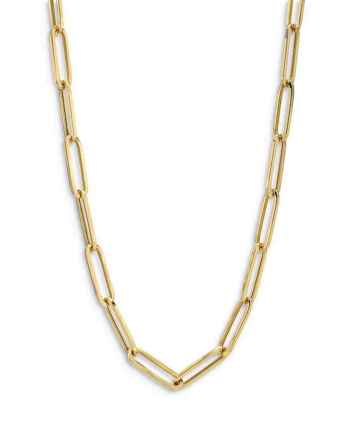 """Zoe Lev - 14K Yellow Gold Extra Large Paper Clip Chain Necklace, 18"""""""