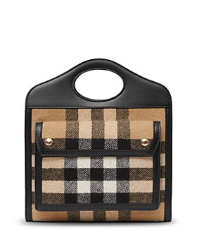 Burberry - Mini Check Cashmere & Leather Tote