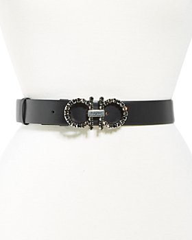 Salvatore Ferragamo - Women's Embellished Double Gancini Buckle Leather Belt