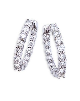 Roberto Coin - 18K White Gold Perfect Diamond Inside Out Small Hoop Earrings