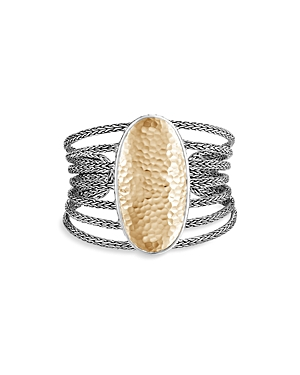 John Hardy 18K Yellow Gold and Sterling Silver Classic Hammered Multi Row Extra Wide Cuff Bracelet
