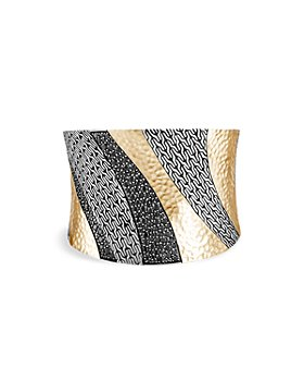 JOHN HARDY - 18K Yellow Gold and Sterling Silver Classic Black Sapphire and Black Spinel Extra Wide Cuff Bracelet