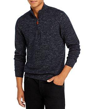 Inis Meain - Wool & Linen Mélange Classic Fit Half Zip Mock Collar Sweater