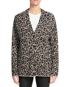 Theory - Animal Print Buttoned Cardigan
