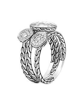 JOHN HARDY - Dot Hammered Sterling Silver Diamond Pavé Stacking Rings, Set of 3