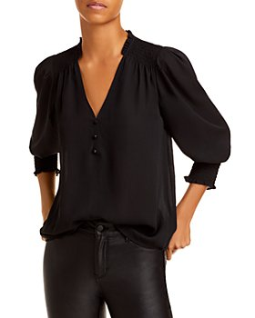 AQUA - V Neck Button Front Blouse - 100% Exclusive