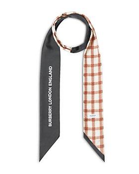 Burberry - Check & Logo Print Silk Skinny Scarf