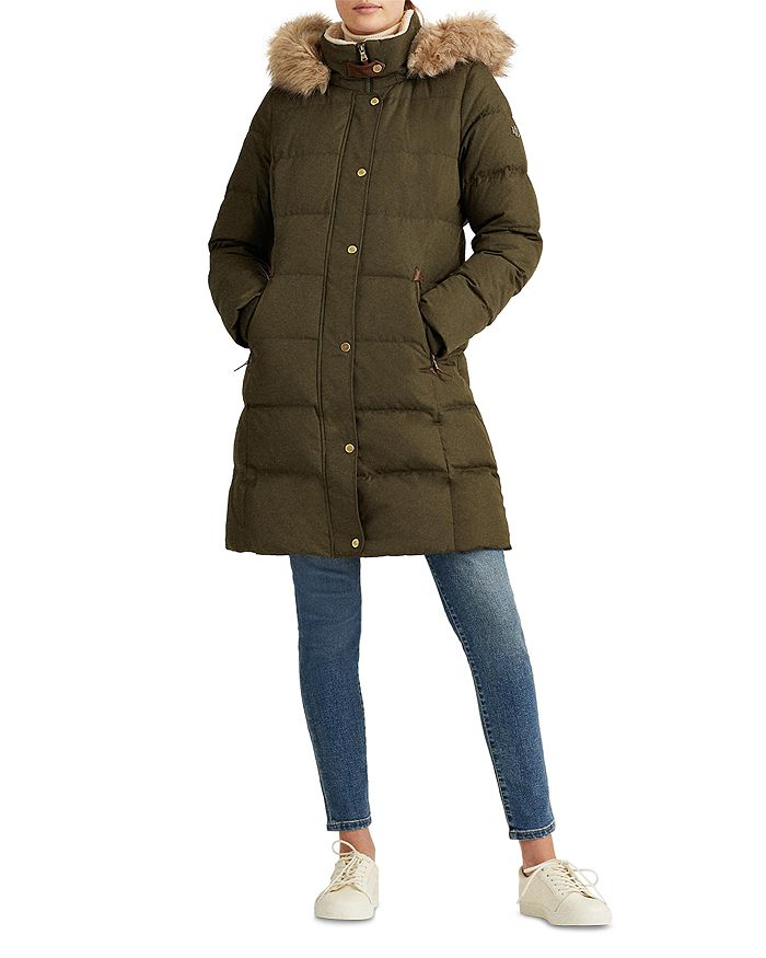 Ralph Lauren - Hooded Faux Fur Trim Down Puffer Coat