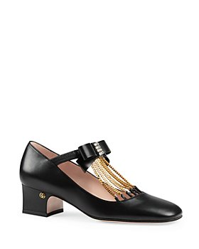 Gucci - Women's Crystal Bow Mid Heel Pumps