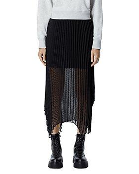 The Kooples - Swiss Dotted Pleated Midi Skirt
