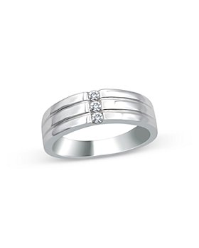 Bloomingdale's - Men's Diamond 3-Stone Ribbed Band in 14K White Gold, 0.15 ct. t.w. - 100% Exclusive
