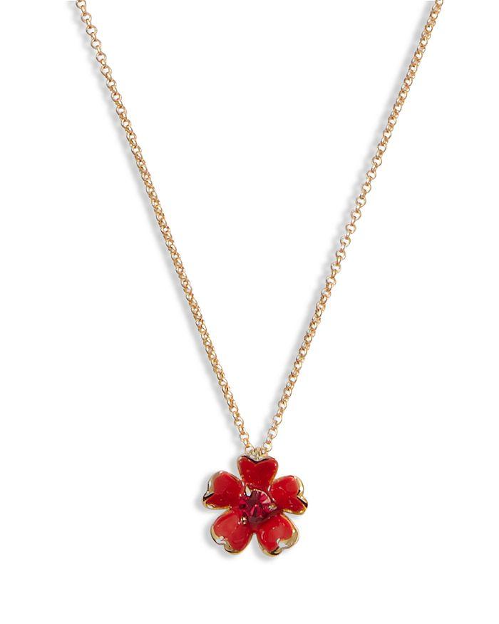 Kate Spade KATE SPADE NEW YORK BLUSHING BLOOMS CRYSTAL RED FLOWER PENDANT NECKLACE, 17-20