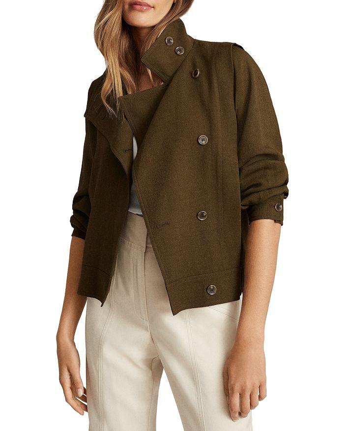 REISS - Alana Short Khaki Utility Jacket