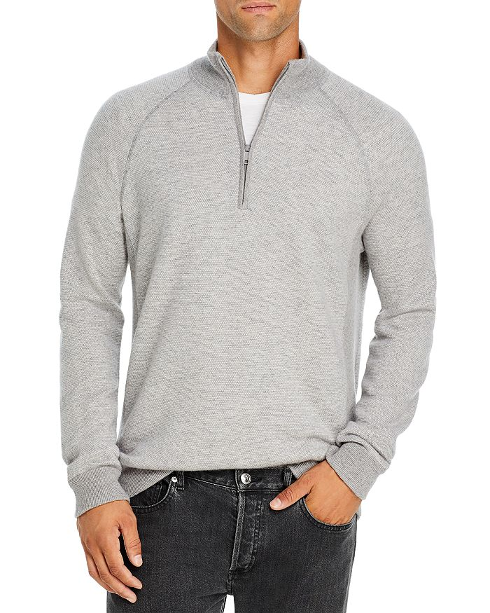 Vince - Bird's Eye Wool & Cashmere Quarter Zip Sweater