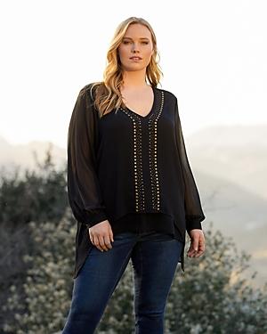 Karen Kane Plus Size Studded Layered Look Top