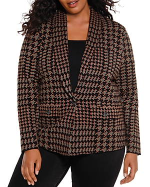 Belldini Plus Size Houndstooth Cardigan
