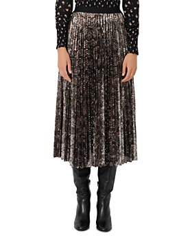 Maje - Jilio Sequinned Pleated Midi Skirt